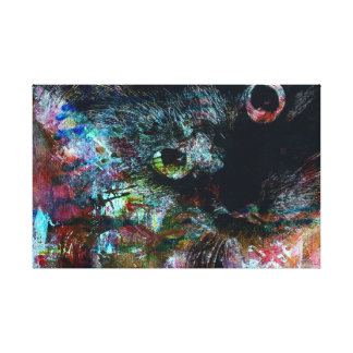 Toile Art 'Mooneyes #3'de mur de chat noir