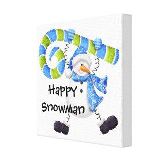 Toile Art vert et bleu de bonhomme de neige heureux de