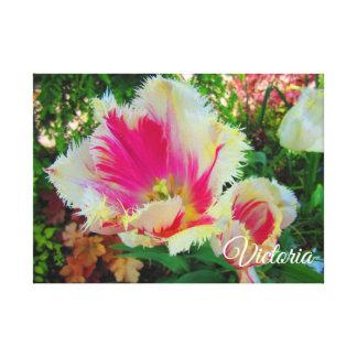 Toile Assez dans le rose et les tulipes frangées par