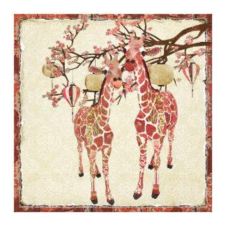 Toile assez rose de fleurs de cerisier de girafes toiles tendues