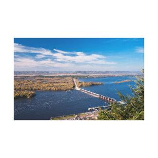 Toile Au-dessus du fleuve Mississippi et du barrage chez