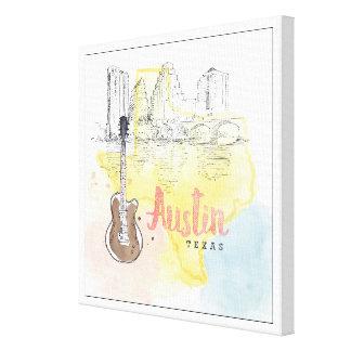Toile Austin, croquis d'aquarelle du Texas |