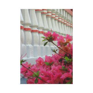 Toile Azalées roses par le porche de cottage, Martha's