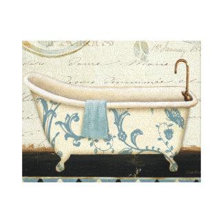 Toile Baignoire vintage blanche et bleue