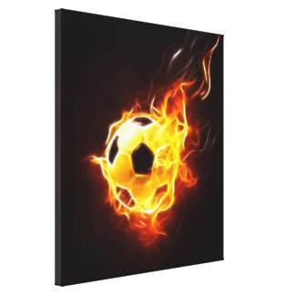 Toile Ballon de football en flammes