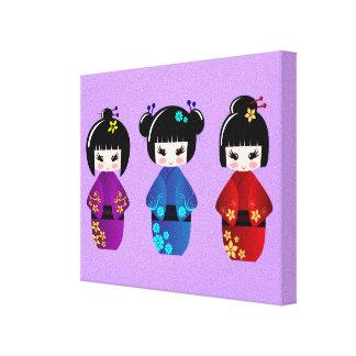 Toile Bande dessinée mignonne de poupées de kokeshi