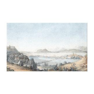 Toile Bassin de Laibach avec la forteresse Laibach et