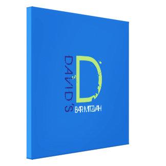 Toile Bat mitzvah de barre d'initiale de monogramme de D