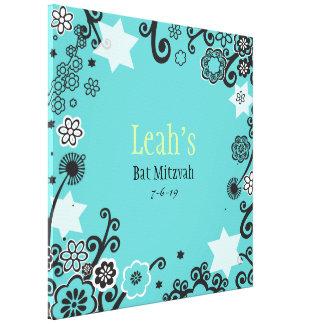 Toile Bat mitzvah floral d'Aqua d'étoile Signe-Dans le
