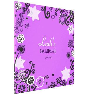 Toile Bat mitzvah pourpre d'étoile florale Signe-Dans le