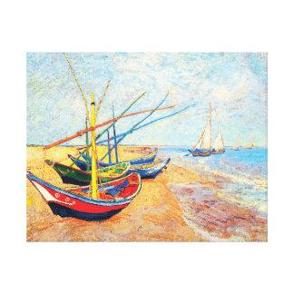 Toile Bateaux de pêche sur la plage chez Saintes-Maries