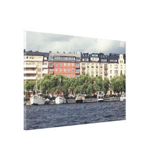 Toile Bateaux et maisons à Stockholm