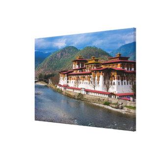 Toile Bâtiment de Dzong par la rivière