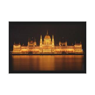 Toile Bâtiment du Parlement à Budapest la nuit