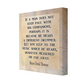 Toile Batteur différent ** citation de Thoreau ** copie