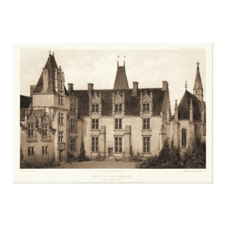 Toile Beau château français dans des tons de sépia