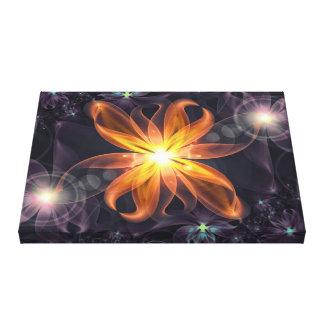 Toile Belle fleur orange de fractale de lis d'étoile la