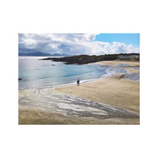 Toile Belle plage avec le ciel bleu ; Kerry, Irlande