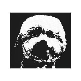 Toile Bichon Frise noir et blanc a enveloppé la copie de