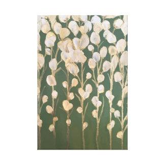 Toile Blanc et beaux-arts de fleurs d'or