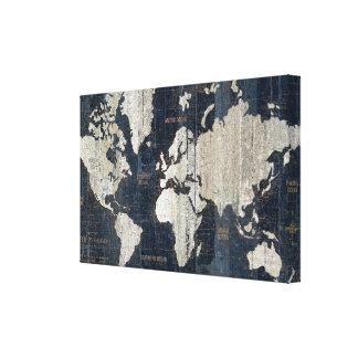 Toile Bleu de carte de Vieux Monde
