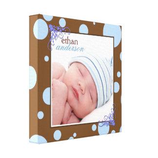 Toile bleue brun chocolat de photo de bébé de pois impression sur toile