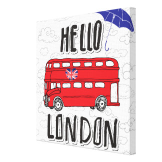 Toile Bonjour signe en lettres de main de Londres | avec