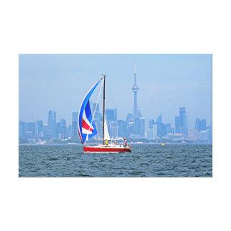 Toile Bord de mer de Toronto avec le voilier