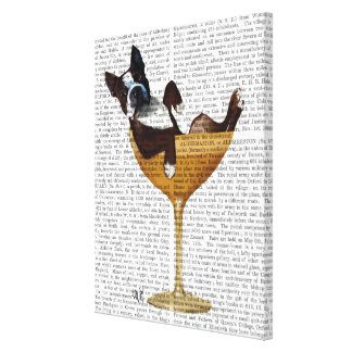 Toile Boston Terrier en verre de cocktail