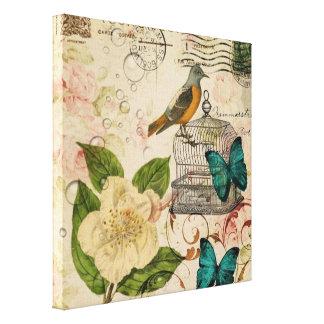 Toile botanique français d'oiseau floral minable
