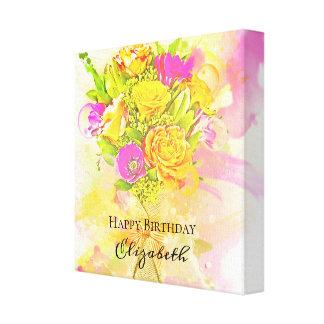 Toile Bouquet de fleur d'aquarelle d'anniversaire