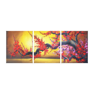 Toile Branche rose de Feng Shui Sakura et Soleil Levant