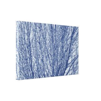 Toile Branches de bouleau - effet de Cyanotype