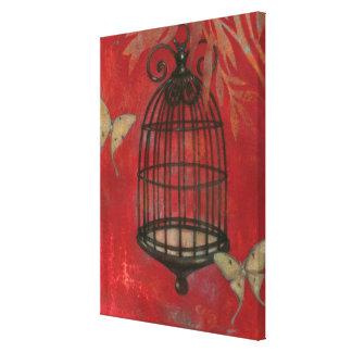 Toile Cage à oiseaux décorative avec des papillons