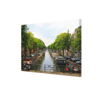 Toile Canal, ponts, vélos, bateaux, Amsterdam, Hollande