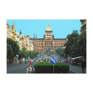Toile Carré de Wenceslas et le Musée National à Prague