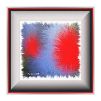 Toile Carré  pop art bleu & rouge