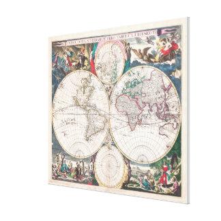 Toile Carte antique du monde de Double-Hémisphère