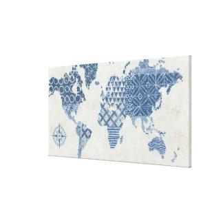 Toile Carte de batik de bleu d'indigo du monde