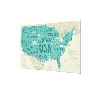 Toile Carte de griffonnage des Etats-Unis