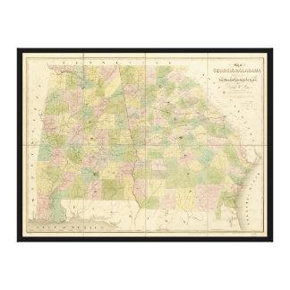 Toile Carte de la Géorgie et de l'Alabama (1839)