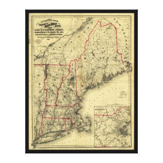 Toile Carte de la Nouvelle Angleterre et des environs