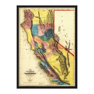 Toile Carte de la région d'or en Californie (1851)