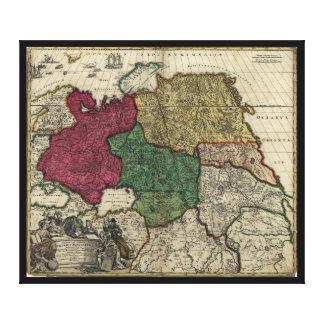 Toile Carte de la Russie (1704)