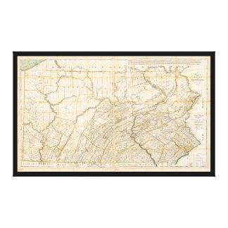 Toile Carte de l'état de la Pennsylvanie (1896)