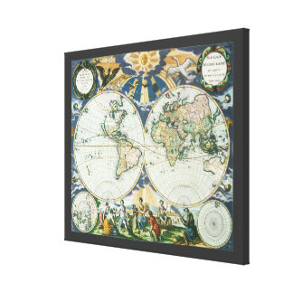 Toile Carte de Vieux Monde antique vintage, 1666 par des