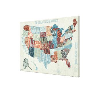 Toile Carte des Etats-Unis avec des états dans les mots