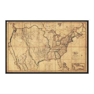 Toile Carte des Etats-Unis par John Melish (1818)