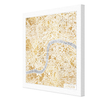 Toile Carte dorée de ville de Londres