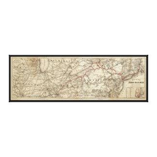 Toile Carte du chemin de fer d'Erie (1869)